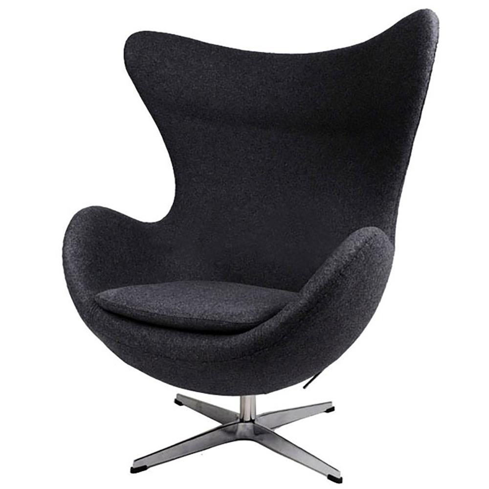 Кресло Egg Chair Чёрное100% ШерстьКресла<br>Кресло Egg Chair (Яйцо), созданное в 1958 году <br>датским дизайнером Арне Якобсеном, обладает <br>исключительной привлекательностью и узнаваемостью <br>во всем мире, занимает особое место в ряду <br>культовой дизайнерской мебели XX века. Оно <br>имеет экстравагантную форму и неординарное <br>исполнение, что позволило ему стать совершенным <br>воплощением классики нового времени. Кресло <br>Egg Chair, выполненное в форме яйца, подарит <br>огромное множество положительных эмоций <br>и заставляет обращать на него внимание. <br>Оно непременно задаёт основу для дизайна <br>того или иного помещения. Прочный и массивный <br>каркас из стекловолокна, обтянутый 100% кашемировой <br>тканью, и ножка из нержавеющей стали гарантируют <br>долгий срок службы и устойчивость. Данное <br>кресло — это поистине не стареющая классика <br>в футуристическом исполнении! Купите великолепную <br>реплику кресла Egg Chair — изготовленное из <br>высококачественных материалов, оно понравится <br>многим любителям нестандартного видения <br>обыденных и, притом, качественных вещей.<br><br>Цвет: Чёрный<br>Материал: Шерсть, Металл<br>Вес кг: 78<br>Длина см: 82<br>Ширина см: 76<br>Высота см: 105