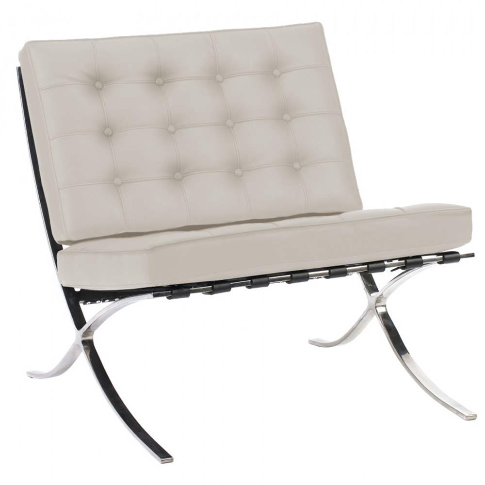 Кресло Barcelona Chair Молочная Кожа Класса ПремиумКресла<br>Кресло Barcelona было создано в 1929 году австрийским <br>архитектором Людвигом Мисом ван дер Роэ <br>и с тех пор считается настоящим шедевром <br>дизайна 20-го века, по праву занимает лучшие <br>места в интерьерах. Каркас и ножки, сделанные <br>из нержавеющей стали, составляет единую <br>конструкцию, что обеспечивает его прочность. <br>Обивка изготавливается из высококачественной <br>кожи бежевого цвета, состоит из отдельно <br>сшитых квадратов с кантом по швам, скроена <br>и сшита вручную. Сиденье и спинка украшены <br>декоративной стежкой «капитоне». Есть также <br>другие варианты расцветки. Предлагаем купить <br>в нашем магазине замечательную реплику <br>кресла Barcelona — оно идеально подойдет для <br>современного стиля интерьера, придав ему <br>строгий шик и элегантность.<br><br>Цвет: Молочный<br>Материал: Кожа<br>Вес кг: 27<br>Длина см: 76<br>Ширина см: 76<br>Высота см: 76