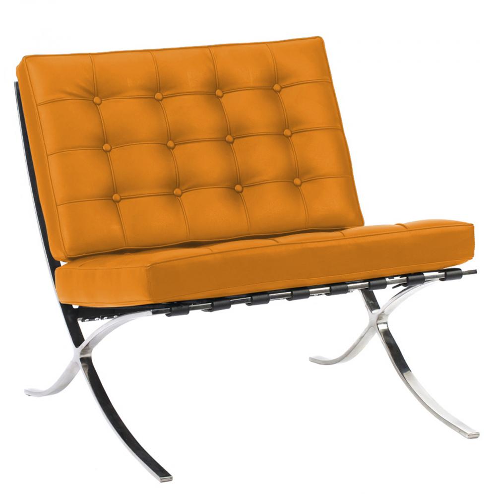 Кресло Barcelona Chair Оранжевая Кожа Класса ПремиумКресла<br>Кресло Barcelona было создано в 1929 году австрийским <br>архитектором Людвигом Мисом ван дер Роэ <br>и с тех пор считается настоящим шедевром <br>дизайна 20-го века, по праву занимает лучшие <br>места в интерьерах. Каркас и ножки, сделанные <br>из нержавеющей стали, составляет единую <br>конструкцию, что обеспечивает его прочность. <br>Обивка изготавливается из высококачественной <br>кожи бежевого цвета, состоит из отдельно <br>сшитых квадратов с кантом по швам, скроена <br>и сшита вручную. Сиденье и спинка украшены <br>декоративной стежкой «капитоне». Есть также <br>другие варианты расцветки. Предлагаем купить <br>в нашем магазине замечательную реплику <br>кресла Barcelona — оно идеально подойдет для <br>современного стиля интерьера, придав ему <br>строгий шик и элегантность.<br><br>Цвет: Оранжевый<br>Материал: Кожа<br>Вес кг: 27<br>Длина см: 76<br>Ширина см: 76<br>Высота см: 76