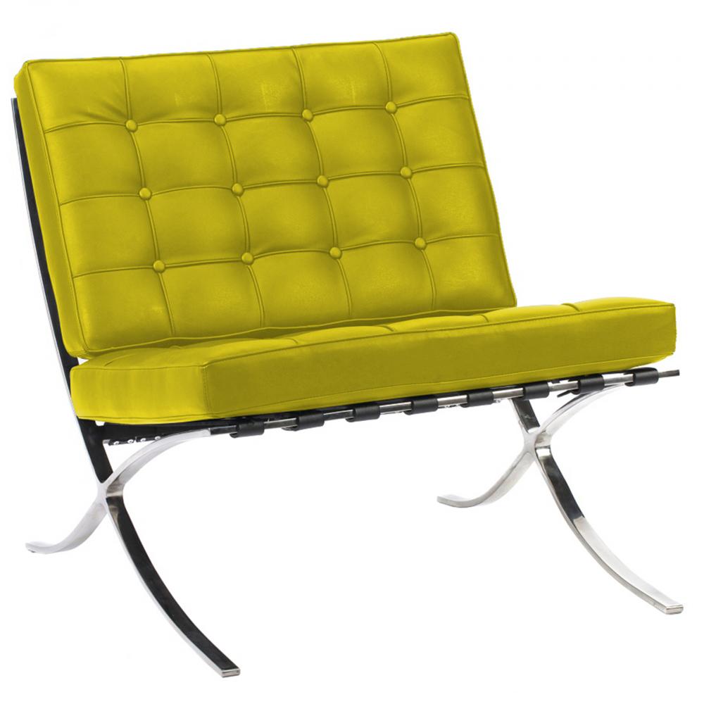Кресло Barcelona Chair Лимонная ЭкокожаКресла<br>Кресло Barcelona было создано в 1929 году австрийским <br>архитектором Людвигом Мисом ван дер Роэ <br>и с тех пор считается настоящим шедевром <br>дизайна 20-го века, по праву занимает лучшие <br>места в интерьерах. Каркас и ножки, сделанные <br>из нержавеющей стали, составляет единую <br>конструкцию, что обеспечивает его прочность. <br>Обивка изготавливается из высококачественной <br>кожи бежевого цвета, состоит из отдельно <br>сшитых квадратов с кантом по швам, скроена <br>и сшита вручную. Сиденье и спинка украшены <br>декоративной стежкой «капитоне». Есть также <br>другие варианты расцветки. Предлагаем купить <br>в нашем магазине замечательную реплику <br>кресла Barcelona — оно идеально подойдет для <br>современного стиля интерьера, придав ему <br>строгий шик и элегантность.<br><br>Цвет: Лимонный<br>Материал: Экокожа<br>Вес кг: 27<br>Длина см: 76<br>Ширина см: 76<br>Высота см: 76