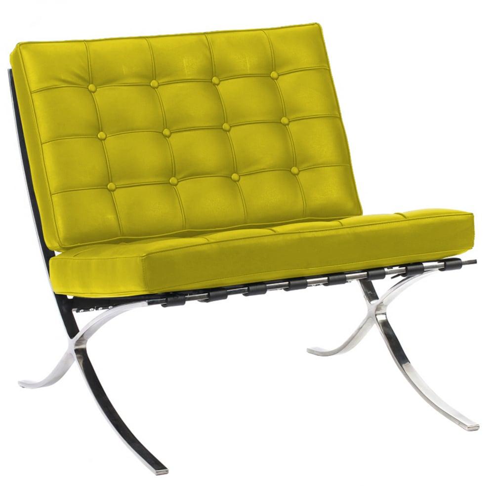 Кресло Barcelona Chair Лимонная Кожа Класса ПремиумКресла<br>Кресло Barcelona было создано в 1929 году австрийским <br>архитектором Людвигом Мисом ван дер Роэ <br>и с тех пор считается настоящим шедевром <br>дизайна 20-го века, по праву занимает лучшие <br>места в интерьерах. Каркас и ножки, сделанные <br>из нержавеющей стали, составляет единую <br>конструкцию, что обеспечивает его прочность. <br>Обивка изготавливается из высококачественной <br>кожи бежевого цвета, состоит из отдельно <br>сшитых квадратов с кантом по швам, скроена <br>и сшита вручную. Сиденье и спинка украшены <br>декоративной стежкой «капитоне». Есть также <br>другие варианты расцветки. Предлагаем купить <br>в нашем магазине замечательную реплику <br>кресла Barcelona — оно идеально подойдет для <br>современного стиля интерьера, придав ему <br>строгий шик и элегантность.<br><br>Цвет: Лимонный<br>Материал: Кожа<br>Вес кг: 27<br>Длина см: 76<br>Ширина см: 76<br>Высота см: 76
