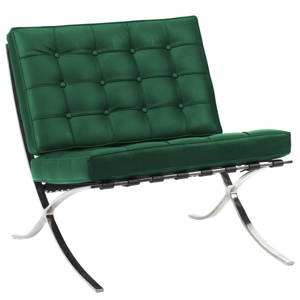 Кресло Barcelona Chair Зелёная Кожа Класса ПремиумКресла<br>Кресло Barcelona было создано в 1929 году австрийским <br>архитектором Людвигом Мисом ван дер Роэ <br>и с тех пор считается настоящим шедевром <br>дизайна 20-го века, по праву занимает лучшие <br>места в интерьерах. Каркас и ножки, сделанные <br>из нержавеющей стали, составляет единую <br>конструкцию, что обеспечивает его прочность. <br>Обивка изготавливается из высококачественной <br>кожи бежевого цвета, состоит из отдельно <br>сшитых квадратов с кантом по швам, скроена <br>и сшита вручную. Сиденье и спинка украшены <br>декоративной стежкой «капитоне». Есть также <br>другие варианты расцветки. Предлагаем купить <br>в нашем магазине замечательную реплику <br>кресла Barcelona — оно идеально подойдет для <br>современного стиля интерьера, придав ему <br>строгий шик и элегантность.<br><br>Цвет: Зелёный<br>Материал: Кожа<br>Вес кг: 27<br>Длина см: 76<br>Ширина см: 76<br>Высота см: 76