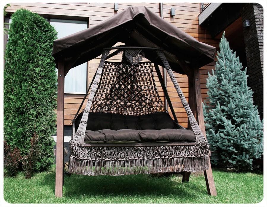 Подвесные плетеные качели СЕАРА (подушка в комплекте) БЕЗ каркаса
