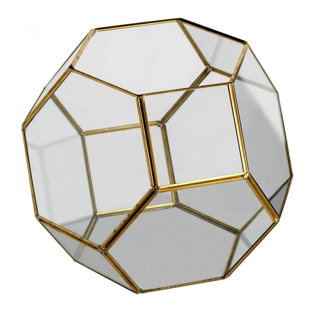 Флорариум стеклянный с золотом в винтажном стиле Honeycomb