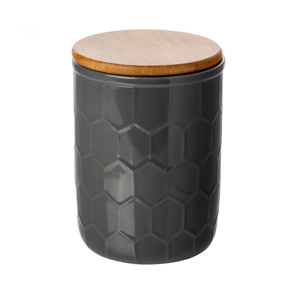 Ёмкость для хранения Honeycomb Чёрная БольшаяЕмкости для хранения<br><br><br>Цвет: Чёрный<br>Материал: Фарфор, Дерево<br>Вес кг: 1,2<br>Длина см: 14<br>Ширина см: 14<br>Высота см: 19