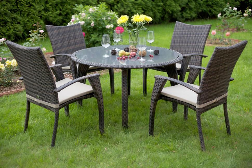 Купить Комплект мебели из ротанга MONACO (стол и 4 стула с подушками) в интернет магазине дизайнерской мебели и аксессуаров для дома и дачи