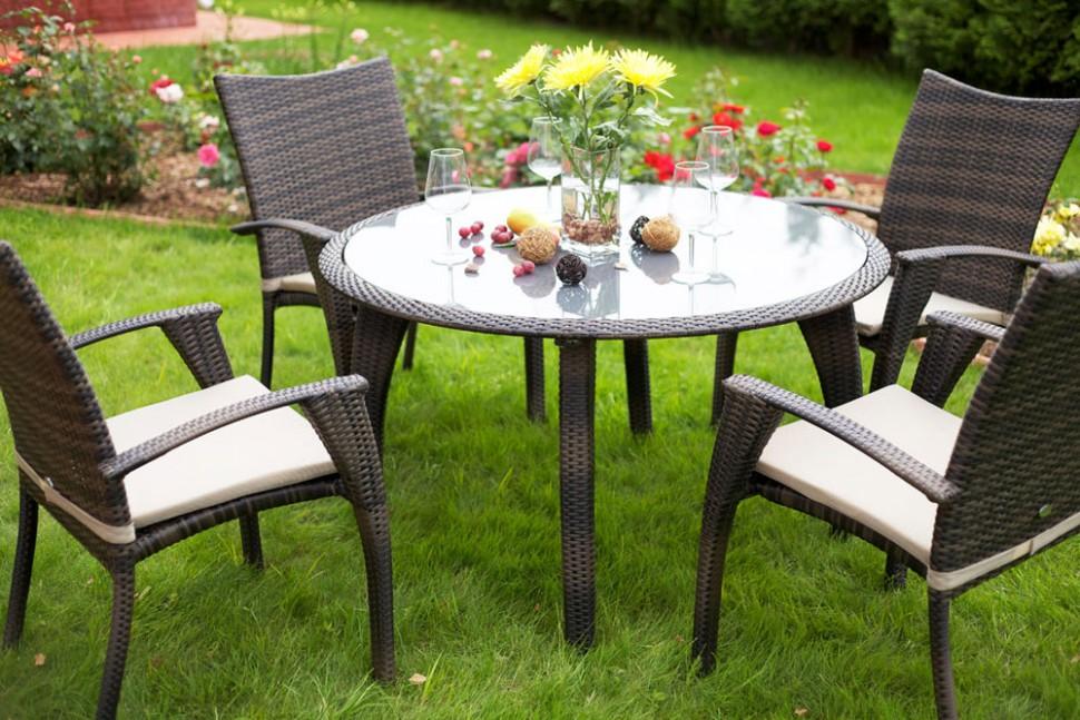 Комплект мебели из ротанга MONACO (стол и 4 стула с подушками)