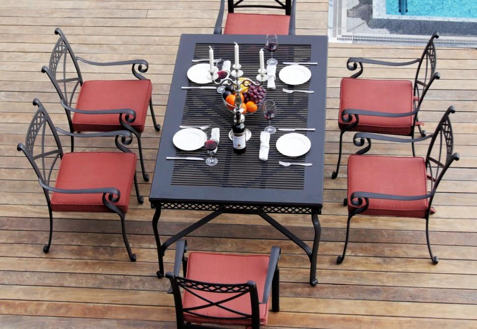 """Купить Комплект мебели из литого алюминия """"СИЦИЛИЯ"""" на шесть персон в интернет магазине дизайнерской мебели и аксессуаров для дома и дачи"""