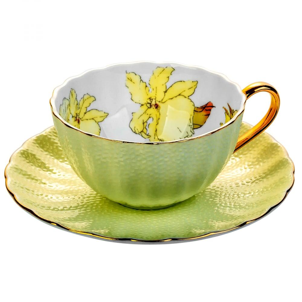 Чайная пара с цветами Arista Жёлтая