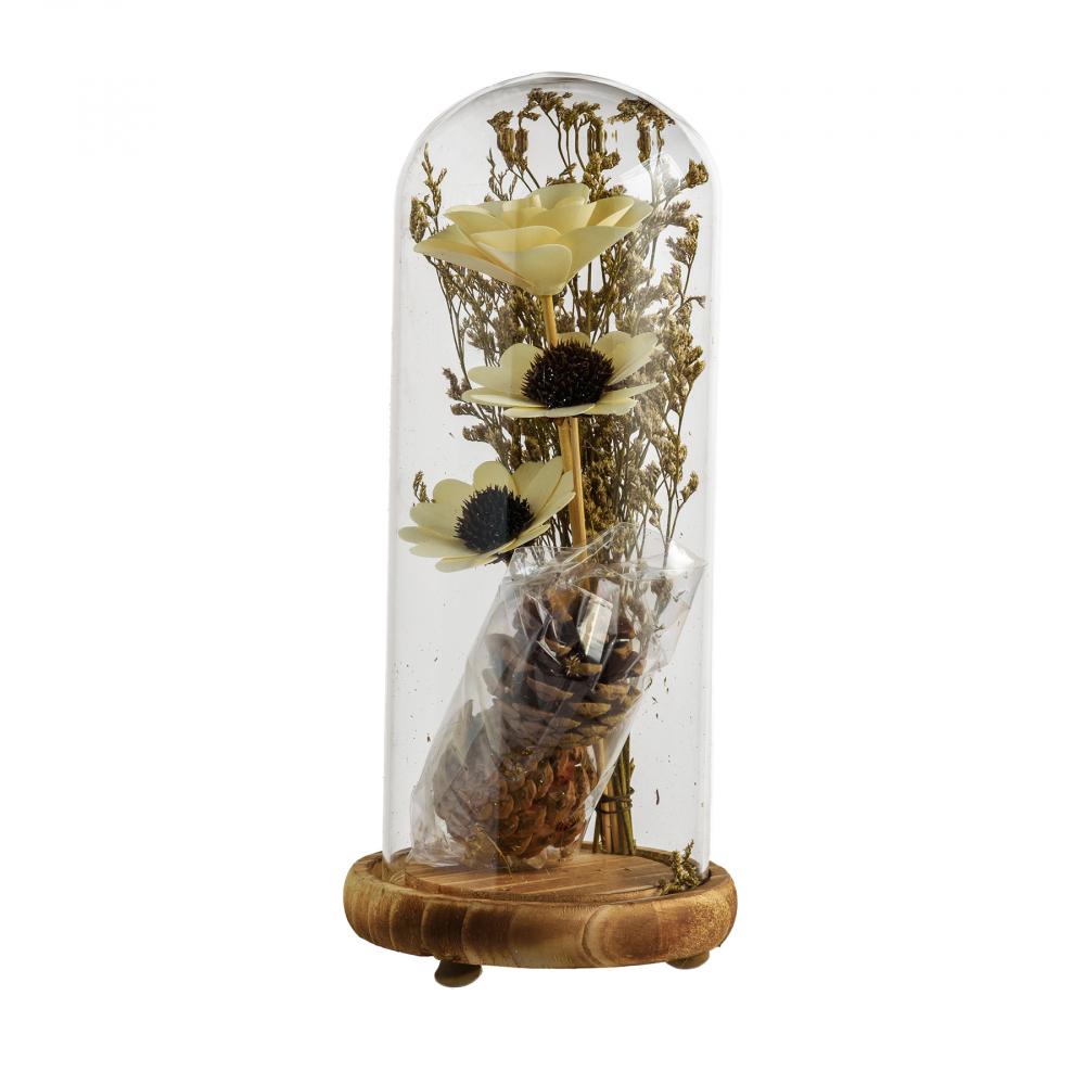 Купол стеклянный Цветы Золотой