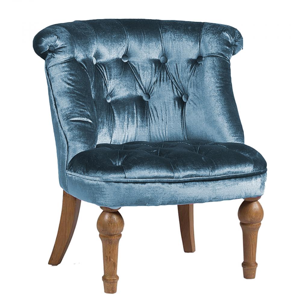 Фото Кресло Sophie Tufted Slipper Chair Морская Волна Микровелюр. Купить с доставкой