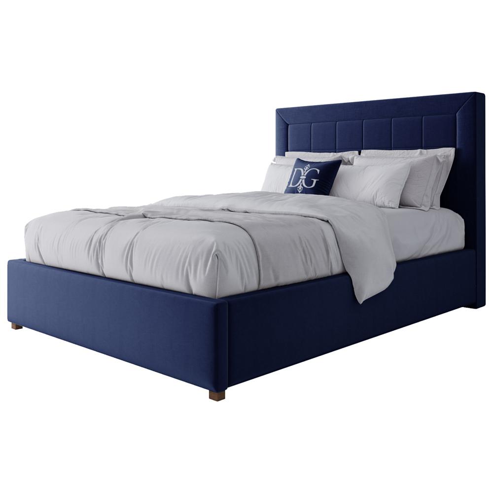 Фото Кровать Elizabeth 140х200 Велюр Синий. Купить с доставкой