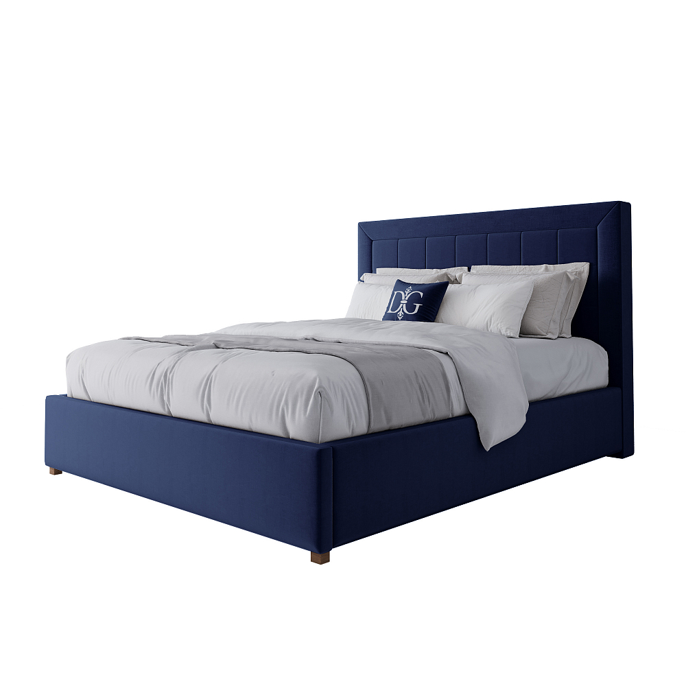 Фото Кровать Elizabeth 160х200 Велюр Синий. Купить с доставкой