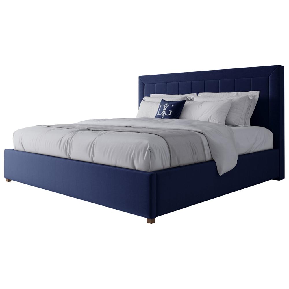 Фото Кровать Elizabeth 200х200 Велюр Синий. Купить с доставкой