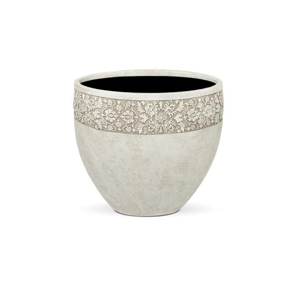 Купить ПУАТЬЕ, ваза 47*47*41, айвори, с декоративным элементом в интернет магазине дизайнерской мебели и аксессуаров для дома и дачи