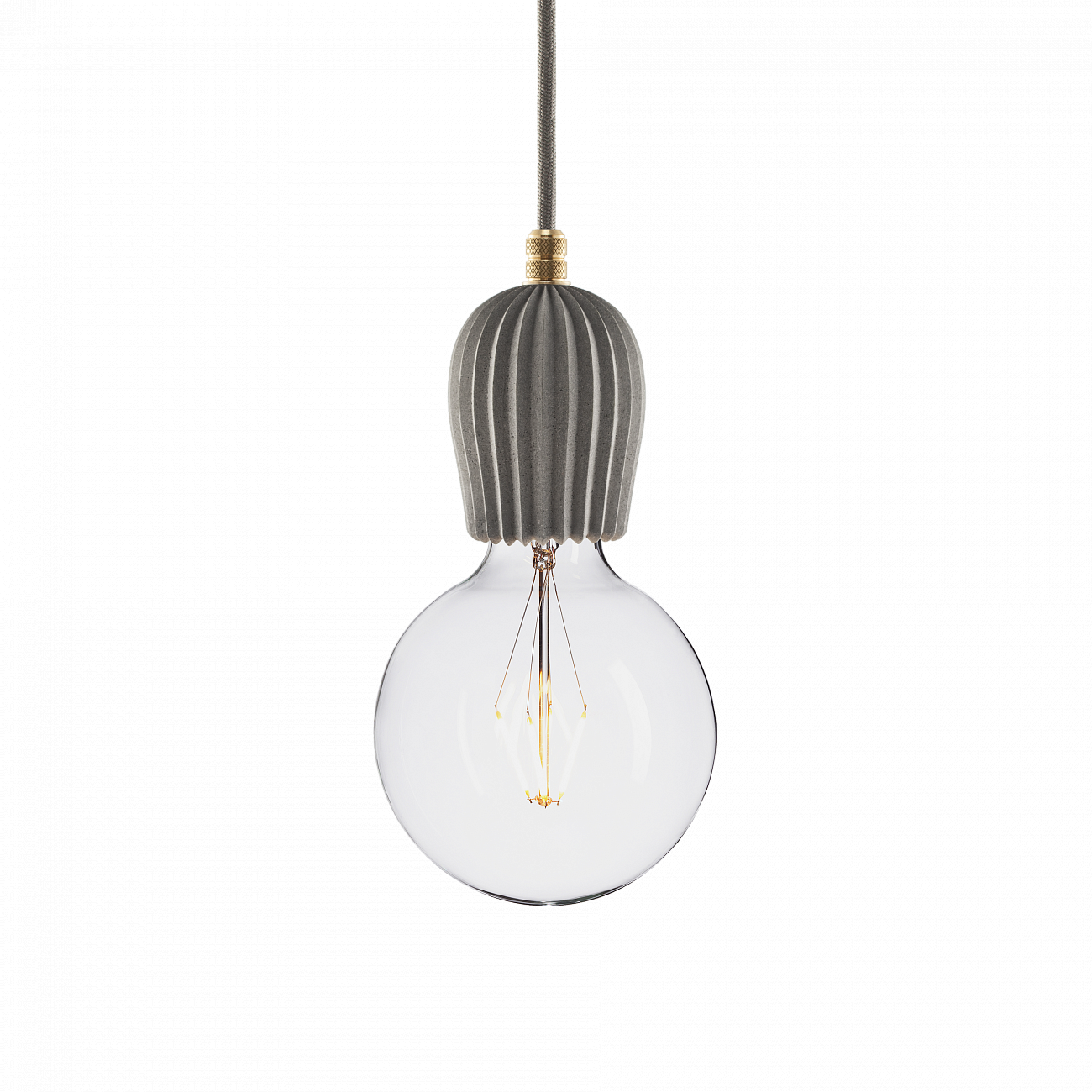 Купить Подвесной светильник BETON RIB GRAY BRASS в интернет магазине дизайнерской мебели и аксессуаров для дома и дачи