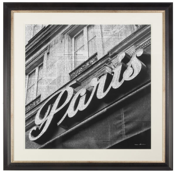 Постер с паспарту в раме Newsprint Paris