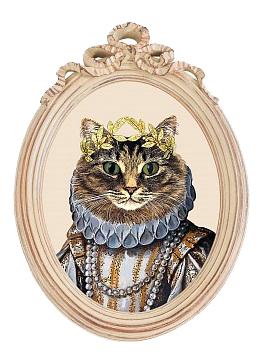 Купить Репродукция гравюры Мисс Кошка в раме Бернадетт в интернет магазине дизайнерской мебели и аксессуаров для дома и дачи