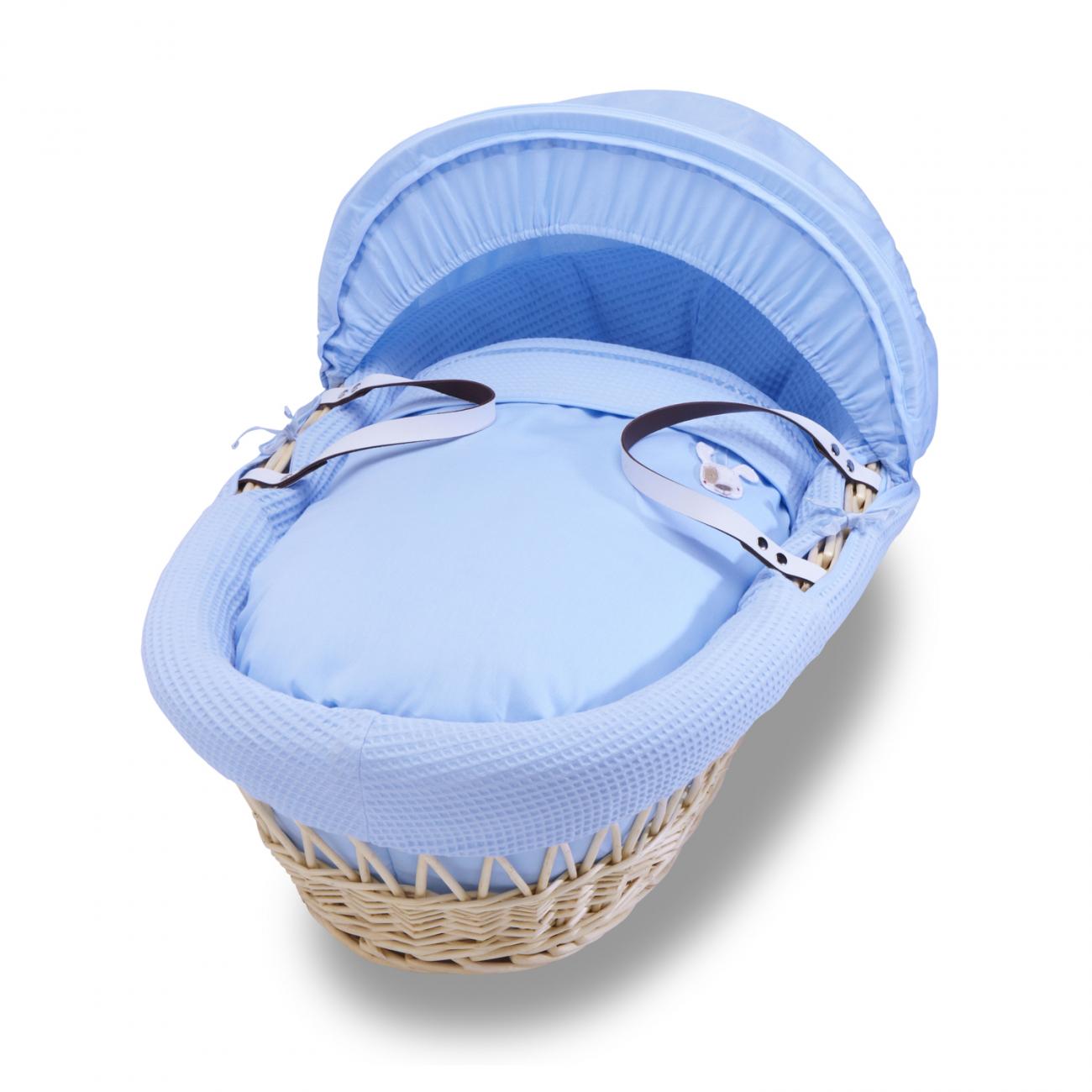 Купить Колыбель-переноска Gift Wicker Moses Basket натуральная, голубое белье в интернет магазине дизайнерской мебели и аксессуаров для дома и дачи