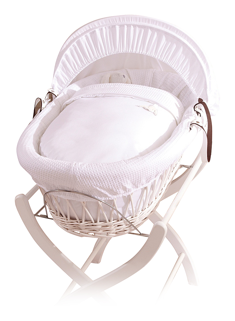 Купить Колыбель-переноска Gift Wicker Moses Basket белая, белое белье в интернет магазине дизайнерской мебели и аксессуаров для дома и дачи