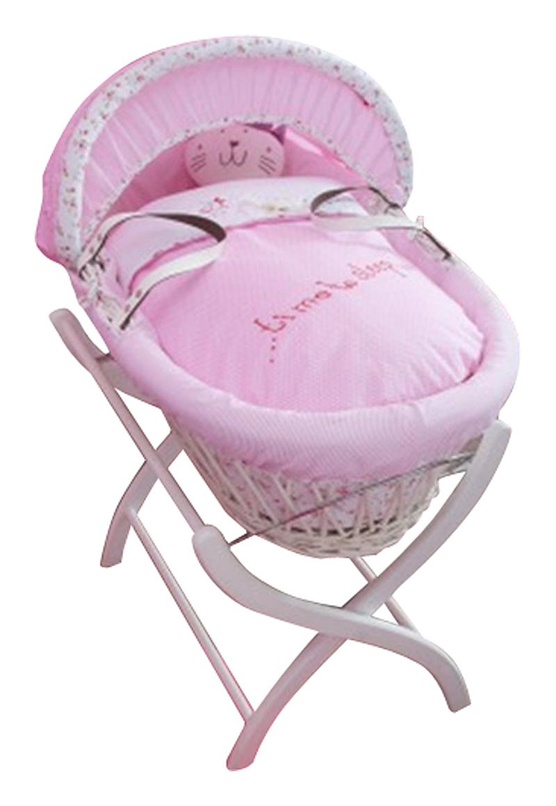 Купить Колыбель-переноска Gift Wicker Moses Basket белая, розовое белье в интернет магазине дизайнерской мебели и аксессуаров для дома и дачи