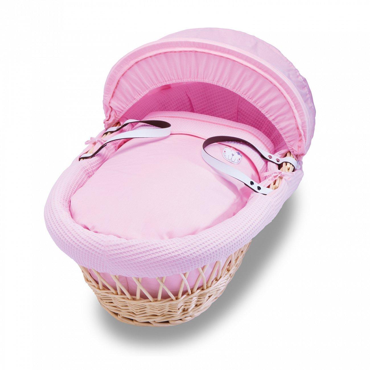 Купить Колыбель-переноска Gift Wicker Moses Basket натуральная, розовое белье в интернет магазине дизайнерской мебели и аксессуаров для дома и дачи