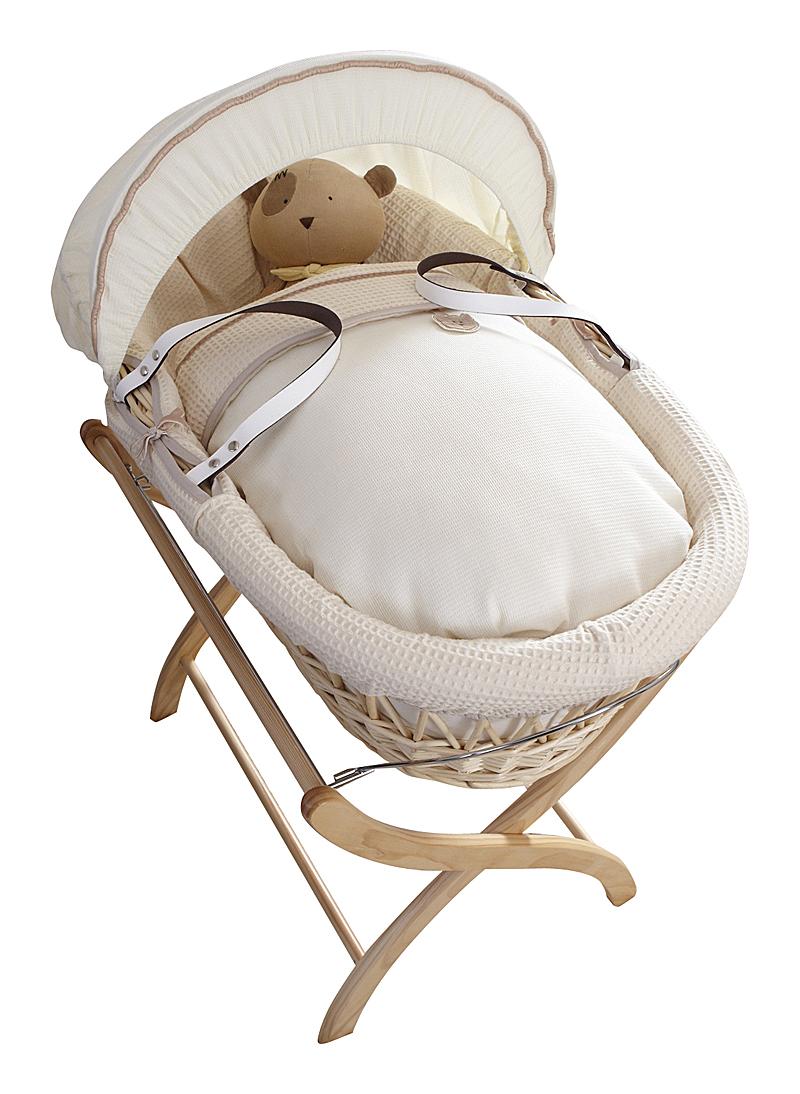 Купить Колыбель-переноска Premium Moses Basket натуральная, кремовое белье в интернет магазине дизайнерской мебели и аксессуаров для дома и дачи