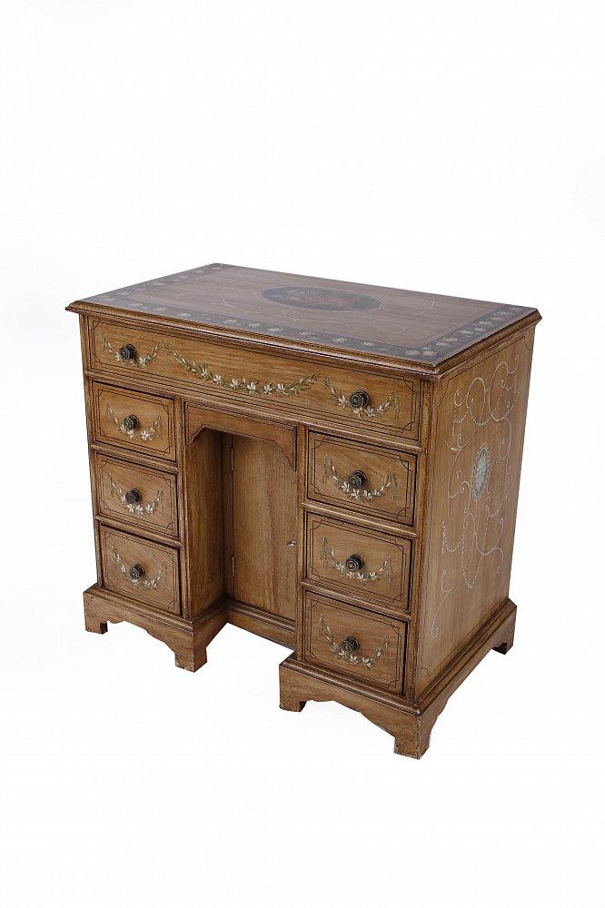 Стол mini Pedestal desk коричневый с рисунком