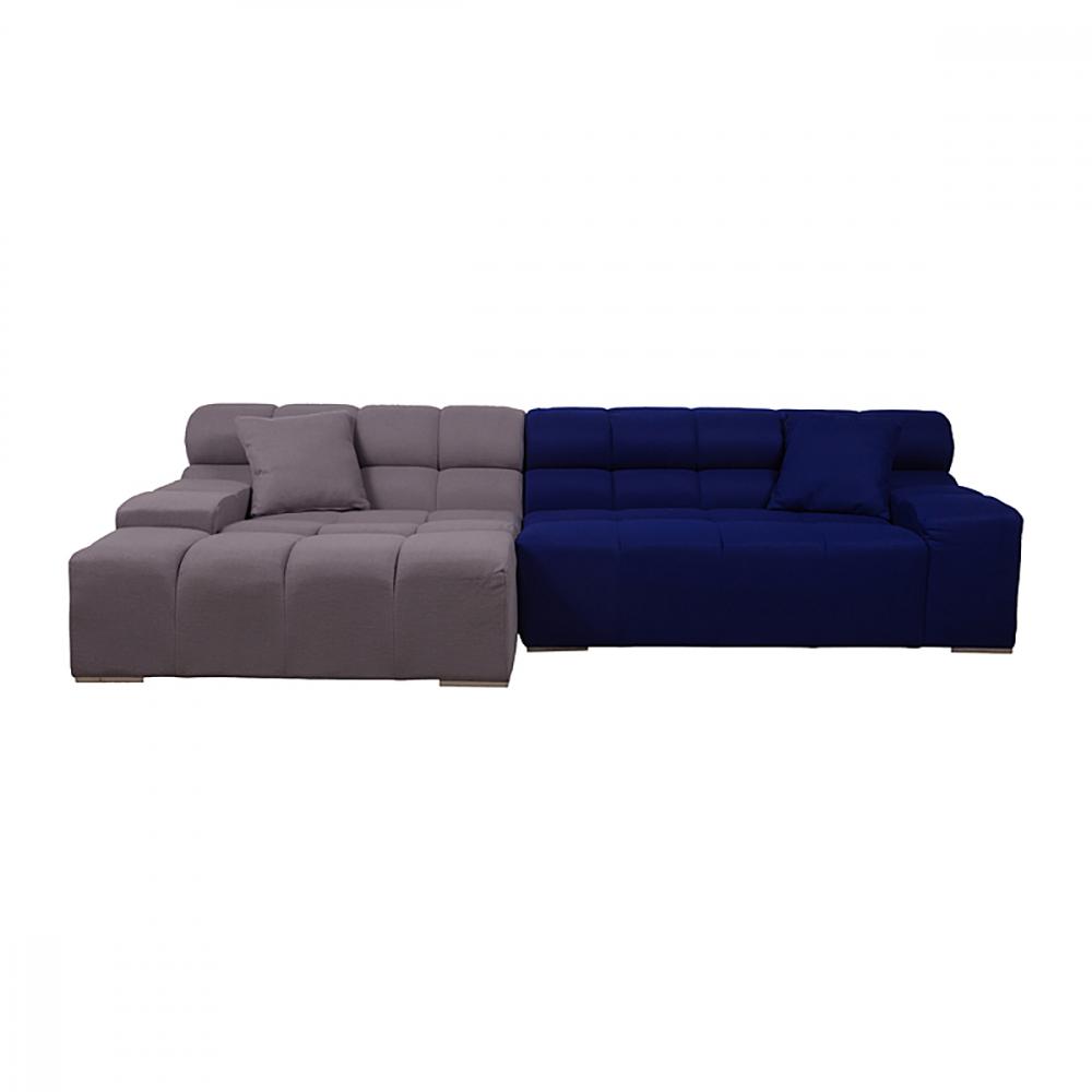 Диван Tufty-Time Sofa серо-синяя шерсть, коричневый DG-HOME Диван Tufty-Time Sofa выполнен на деревянном каркасе,  состоит из двух разных половинок, отличающихся  по цвету (серый и синий) и по ширине, с плоскими  подлокотниками, наполнитель — мебельный  поролон, с двумя декоративными подушками  под спину. Диван Tufty-Time Sofa словно бросает  вызов всему симметричному и пропорциональному.  Два элемента можно использовать совместно,  также есть возможность «разделить» секции  и расставить их по своему вкусу. Обивка  угловой части отделана синей тканью. Диван  обладает и непревзойденным удобством, долговечностью  и надежностью, изготовлен из абсолютно  безопасных натуральных материалов. Дизайн  дивана от Патрисии Уркиола (Patricia Urquiola)! Удобный  аксессуар для современного стиля гостиной.