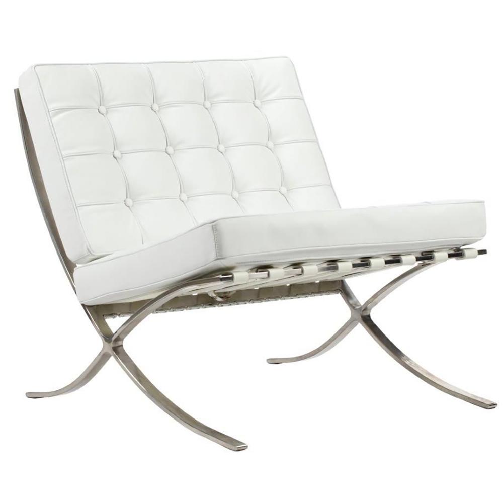 Фото Кресло Barcelona Chair Белая Кожа Класса Премиум. Купить с доставкой