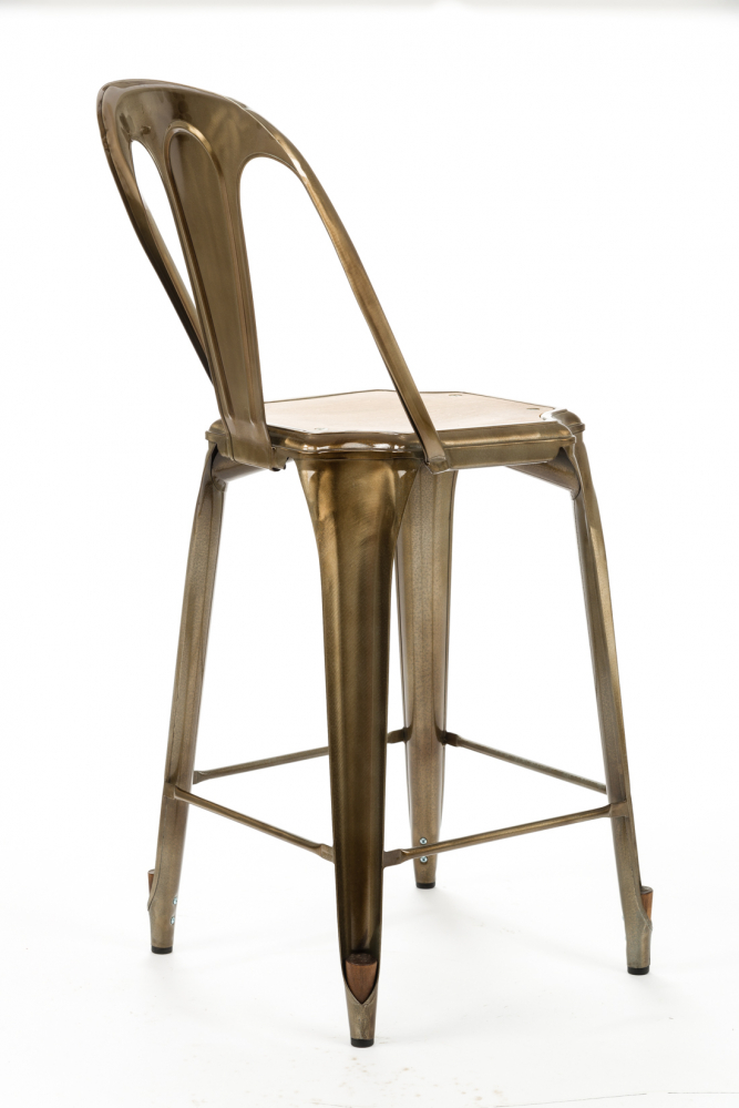 Барный стул Marais с деревянным сиденьем золото