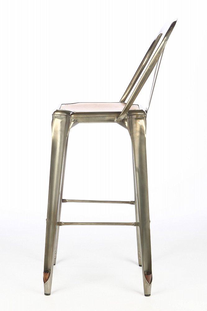 Барный стул Marais с деревянным сиденьем метал