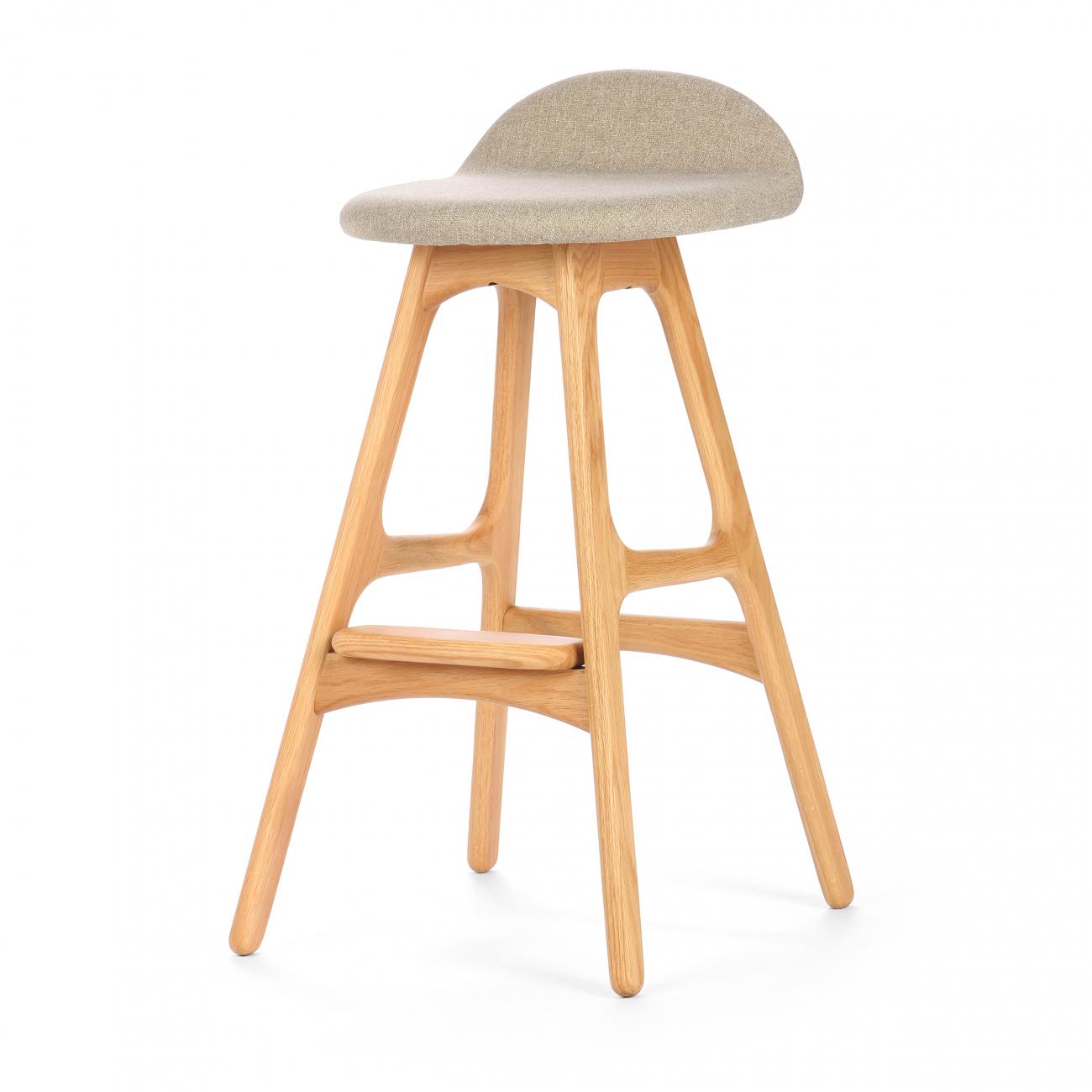 Купить Барный стул Buch Бежевый на светлых ножках в интернет магазине дизайнерской мебели и аксессуаров для дома и дачи