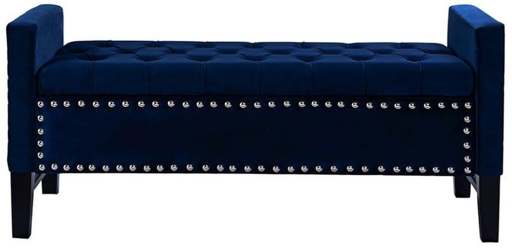 Банкетка открывающаяся велюр синий 127*50*56