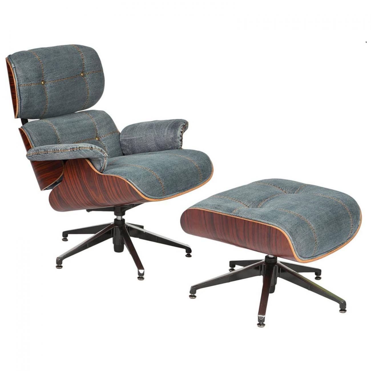 Купить Кресло+пуф Eames Chair jeans blue в интернет магазине дизайнерской мебели и аксессуаров для дома и дачи