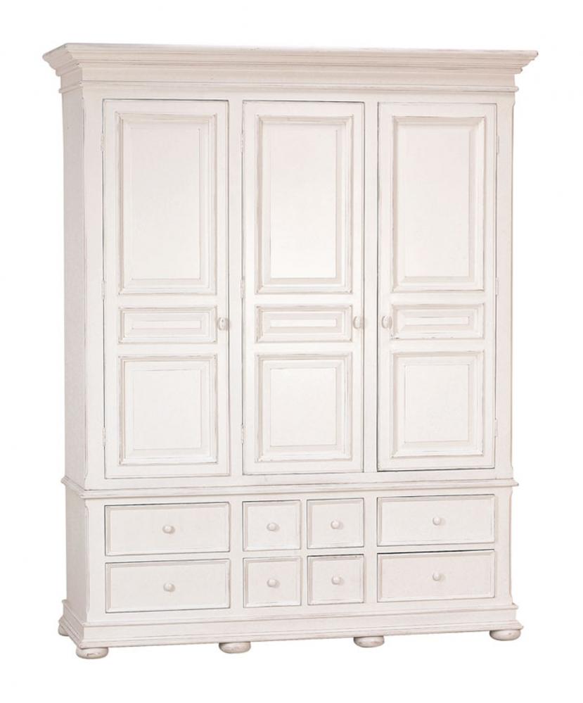 """Шкаф платяной трехдверный """"Нордик"""" ФАСАД: Белый (Нордик, Бретань); с состариванием; без на"""