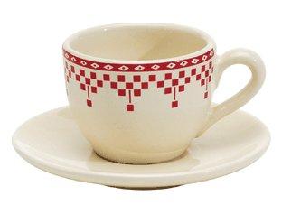 """Купить Чашка с блюдцем кофейная """"Красные шашечки"""" COMPTOIR de FAMILLE в интернет магазине дизайнерской мебели и аксессуаров для дома и дачи"""