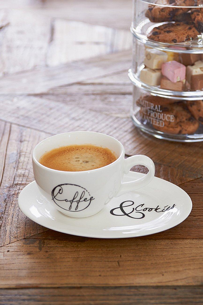 """Купить Чашка с блюдцем """"Кофе и печеньки"""" средняя Riviera Maison r в интернет магазине дизайнерской мебели и аксессуаров для дома и дачи"""