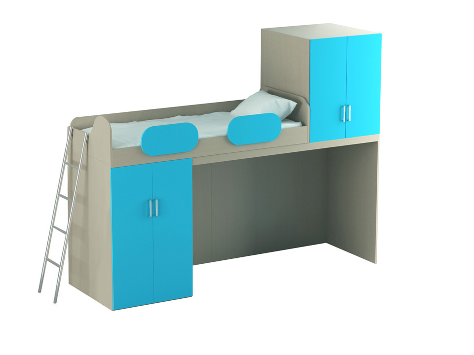 Кровать-чердак Mio blue big