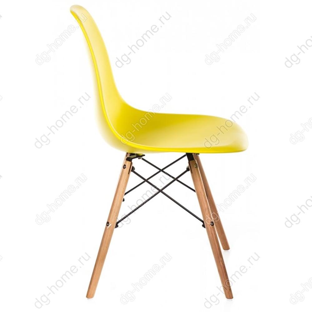 Стул деревянный PC-015 желтый ножки дерево (eames style)
