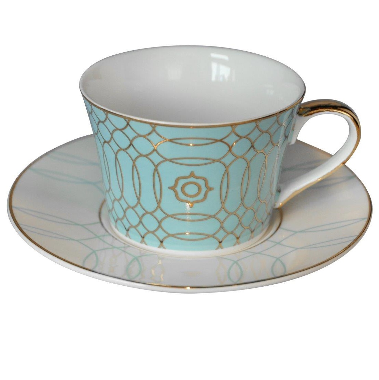 Чайная пара Turquoise Veil, DG-DW-324Чайные пары<br>Великолепная чайная пара Turquoise Veil из костяного <br>фарфора сделает праздничным даже самое <br>обыкновенное чаепитие. Изделия из тончайшего <br>костяного фарфора отличаются особой изысканностью <br>и прозрачностью на свет. Изящная бирюзовая <br>чашка украшена нежным, воздушным рисунком, <br>подчеркивающим невесомость материала. <br>Безупречный стиль и качество исполнения <br>придутся по вкусу ценителям дорогих эксклюзивных <br>вещей. Вы можете приобрести чайную пару <br>отдельно, а также вместе с другими предметами <br>коллекции Turquoise Veil («Бирюзовая вуаль»).<br><br>Цвет: None<br>Материал: None<br>Вес кг: 0.3