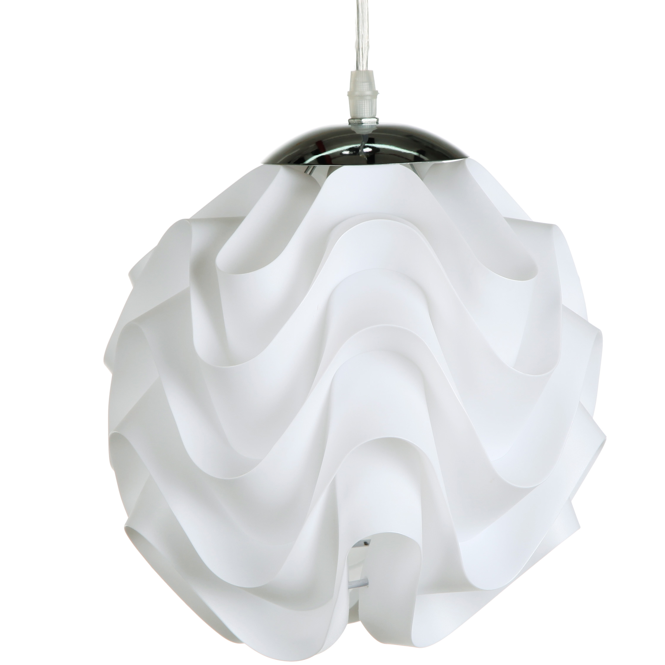 Подвесной светильник OzzyПодвесные светильники<br>Подвесной светильник Ozzy в стиле модерн, <br>с гофрированным тканевым абажуром подойдет <br>как для городских апартаментов, так и для <br>загородного дома. Шарообразный абажур молочного <br>цвета и хромированное металлическое основание, <br>обладая незамысловатыми формами, производят <br>впечатление изысканной простоты и изящества. <br>Такой светильник придает интерьеру оригинальность <br>и свежесть. Длина провода 95 см.<br><br>Цвет: Белый<br>Материал: Ткань, Металл<br>Вес кг: 0,5<br>Длина см: 27<br>Ширина см: 27<br>Высота см: 27