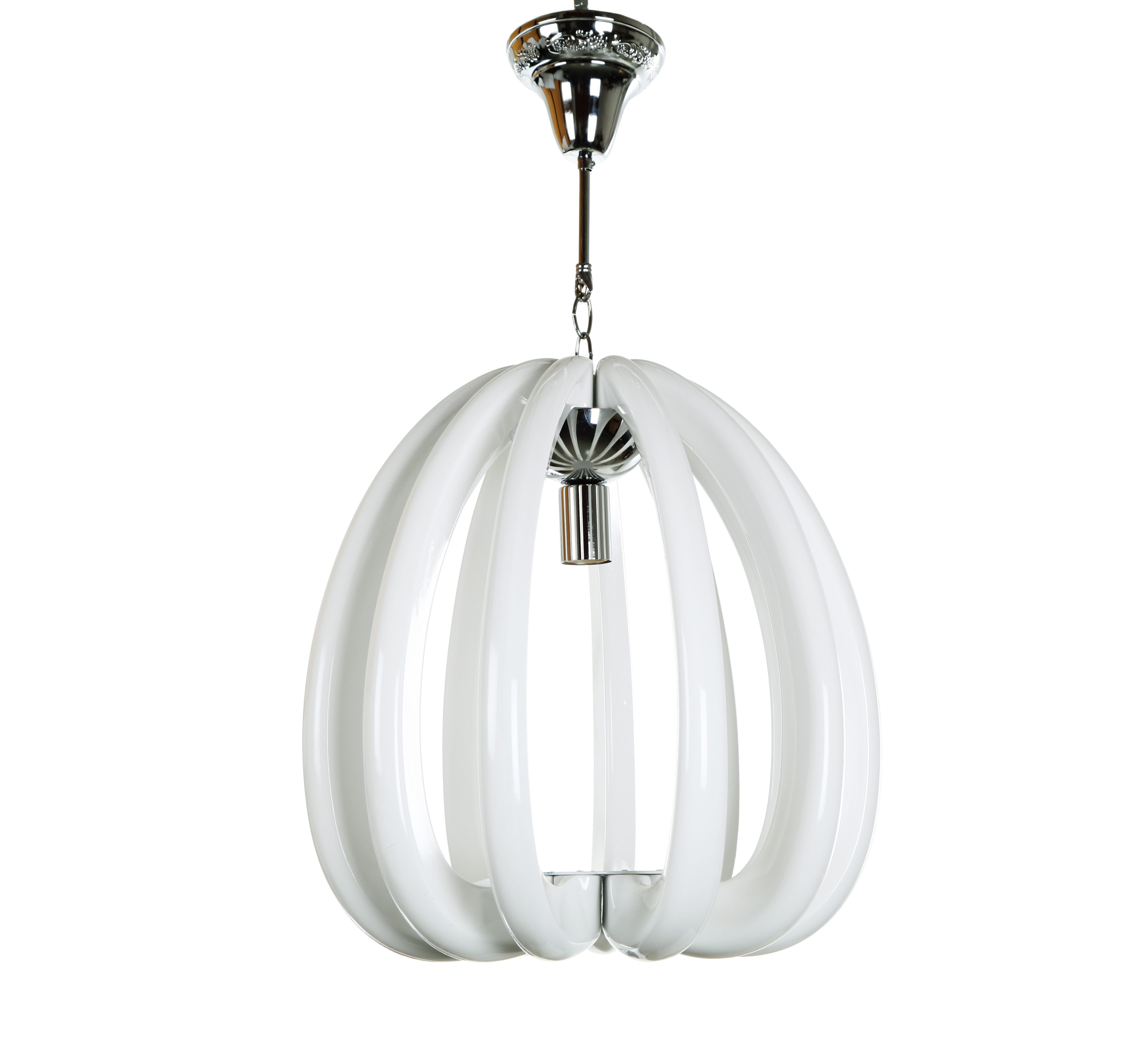 Подвесной светильник JunoПодвесные светильники<br>Оригинальная подвесной светильник Juno из <br>полимерной смолы белого цвета отличается <br>лаконичным дизайном, напоминая полураспустившийся <br>цветок хризантемы. Конструкция светильника <br>обеспечивает ненавязчивое прямое освещение <br>и замечательно впишется в современный интерьер.<br><br>Цвет: Белый<br>Материал: Полимерная смола<br>Вес кг: 5,6<br>Длина см: 45<br>Ширина см: 45<br>Высота см: 46