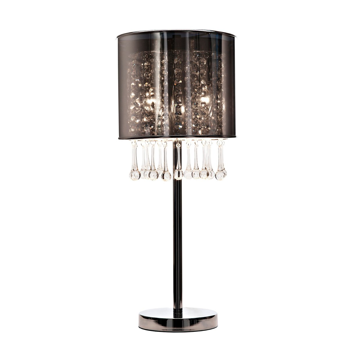 Напольный светильник AmberТоршеры и напольные светильники<br>Оригинальный напольный светильник Amber <br>наполнит ваш дом мягким светом и положительными <br>эмоциями. Полупрозрачный серебристый плафон <br>из ПВХ, декорированный хрустальными подвесками, <br>отлично сочетается с прямой и строгой стойкой <br>из хромированного металла. Светильник станет <br>украшением классического и современного <br>интерьера.<br><br>Цвет: Чёрный, Серебро<br>Материал: Пластик, Металл, Хрусталь<br>Вес кг: 2,6<br>Длина см: 24<br>Ширина см: 24<br>Высота см: 77
