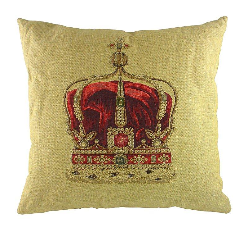 Подушка с картинкой короны Queen Crown Cream, DG-D-PL292Подушки<br>На бежевом фоне хлопковой подушки размещена картинка в виде короны королевы. Эта подушка станет не только отличным аксессуаром декора, но и ее натуральный чехол будет верно служить вашему здоровью. А если добавить к ней в качестве подарка подушку King Crown Black, то вы станете самым почетным гостем в доме своих друзей.<br><br>Цвет: Бежевый, Красный<br>Материал: хлопок<br>Вес кг: 0.46<br>Длинна см: 45<br>Ширина см: 45<br>Высота см: 12