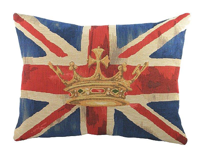 Большая подушка с британским флагом Crown Blue, DG-D-PL294