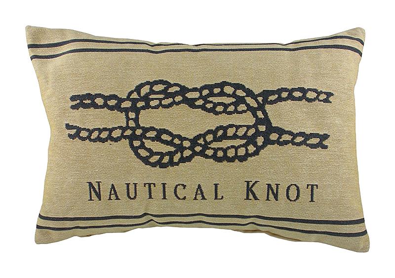 Подушка с морским узлом Nautical Knot NaturalПодушки<br>Маленькая серая подушка продолговатой <br>формы, покрыта хлопковой тканью с картинкой <br>морского узла Nautical Knot. Мягкий и упругий <br>наполнитель хорошо поддерживает спину, <br>поможет расслабиться и принять удобную <br>позу. Подушка станет отличным сувениром <br>и оригинальным подарком для любителя морских <br>просторов.<br><br>Цвет: Бежевый, Чёрный<br>Материал: Наполнитель - 100% полиэстер, чехол для подушки <br>Вес кг: 0,4<br>Длина см: 46<br>Ширина см: 33<br>Высота см: 10