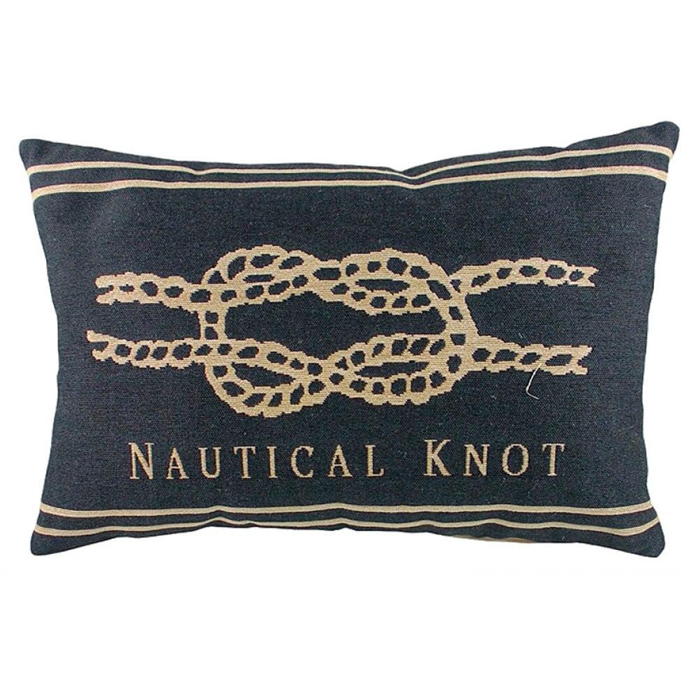 Подушка с морским узлом Nautical Knot DenimПодушки<br>Маленькая синяя подушка продолговатой <br>формы, покрыта хлопковой тканью с картинкой <br>морского узла Nautical Knot. Мягкий и упругий <br>наполнитель хорошо поддерживает спину, <br>поможет расслабиться и принять удобную <br>позу. Подушка станет отличным сувениром <br>и оригинальным подарком для любителя морских <br>просторов.<br><br>Цвет: Серый, Бежевый<br>Материал: Наполнитель - 100% полиэстер, чехол для подушки <br>Вес кг: 0,4<br>Длина см: 46<br>Ширина см: 33<br>Высота см: 10