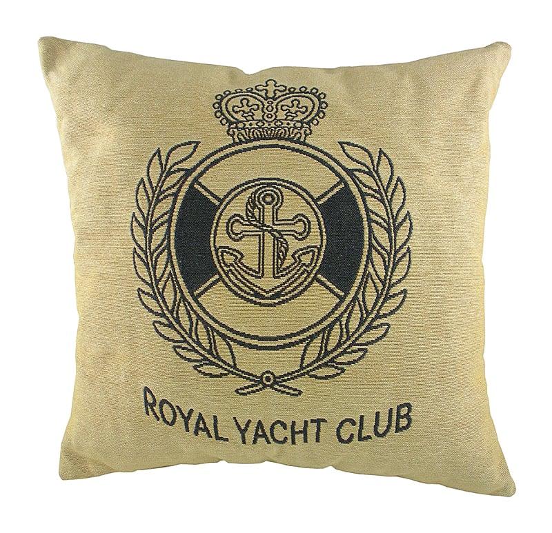 Подушка с гербом Королевского Royal Yacht ClubПодушки<br>Маленькая серая подушка квадратной формы, <br>с одной стороны покрыта хлопковой тканью <br>с гербом Королевского яхт-клуба Royal Yacht Club, <br>отлично подойдет для отдыха на яхте. Подушка <br>является отличным сувениром и оригинальным <br>подарком.<br><br>Цвет: Бежевый, черный<br>Материал: Наполнитель - 100% полиэстер, чехол для подушки <br>Вес кг: 0,4<br>Длина см: 46<br>Ширина см: 46<br>Высота см: 10