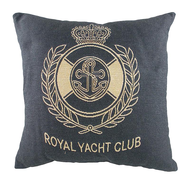 Подушка с гербом Королевского Royal Yacht Club Подушки<br>Маленькая синяя подушка квадратной формы, <br>с одной стороны покрыта хлопковой тканью <br>с гербом Королевского яхт-клуба Royal Yacht Club, <br>отлично подойдет для отдыха на яхте. Подушка <br>является отличным сувениром и оригинальным <br>подарком.<br><br>Цвет: черный, бежевый<br>Материал: Наполнитель - 100% полиэстер, чехол для подушки <br>Вес кг: 0,4<br>Длина см: 46<br>Ширина см: 46<br>Высота см: 10